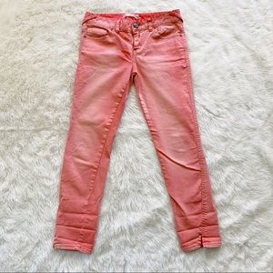 Free People • ankle cropped skinny jeans peach